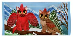 Beach Towel featuring the painting Cardinal Cats by Carrie Hawks