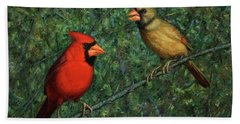 Cardinal Couple Beach Sheet by James W Johnson
