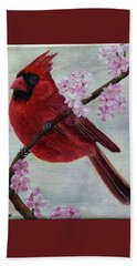 Cardinal In Cherry Blossoms Beach Sheet