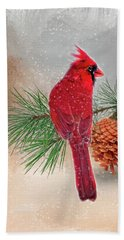 Cardinal In Snow Beach Towel by Mary Timman