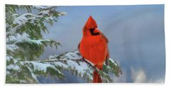 Cardinal In Winter II Beach Sheet