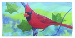 Cardinal On A Branch Beach Towel