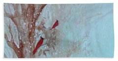 Beach Towel featuring the painting Cardinals In Trees Whilst Snowing by Robin Maria Pedrero