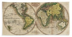 Beach Sheet featuring the photograph Carey's Map Of The World  1795 by Daniel Hagerman