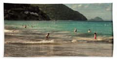 Beach Towel featuring the photograph Caribbean Beach Scenic In Grunge by Rosalie Scanlon