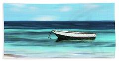 Caribbean Dream Boat Beach Towel by Deborah Smith