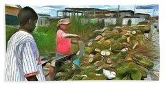 Beach Towel featuring the painting Caribbean Scenes - De Coconut Vendor by Wayne Pascall