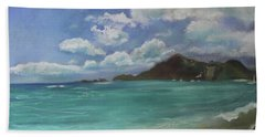 Beach Towel featuring the pastel Caribbean Sea Day Antigua by Robin Maria Pedrero