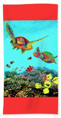 Caribbean Sea Turtles And Reef Fish Vertical Beach Sheet