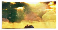 Caribbean Sunset Cloud Art Beach Towel