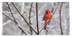 Goldfinch And Cardinal Beach Towel