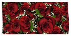 Carmine Roses Beach Towel