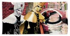 Carnevale Venezia - Prints From Original Oil Painting Beach Sheet