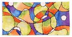 Carnival Balloons Watercolor Beach Towel by Kristen Fox