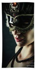 Beach Sheet featuring the photograph Carnival Mask Closeup Girl Portrait by Dimitar Hristov