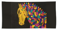 Carnival Stained Glass Tribal Horse Beach Towel by Susie WEBER