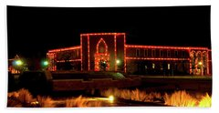 Beach Towel featuring the photograph Carol Of Lights At Science Building by Mae Wertz