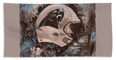 Beach Towel featuring the painting Carolina Panthers Football Helmet Painting Wall Art by Gray Artus