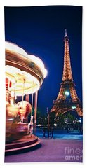 Carousel And Eiffel Tower Beach Towel by Elena Elisseeva