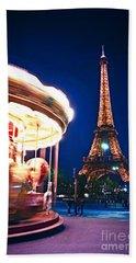 Carousel And Eiffel Tower Beach Sheet by Elena Elisseeva