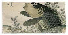 Carp Among Pond Plants Beach Towel by Ryuryukyo Shinsai