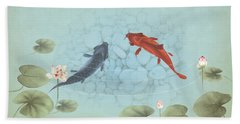 Carp In Lily Pond Beach Towel