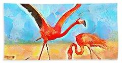 Caribbean Scenes - Trinidad's Scarlet Ibis/flamingo Beach Towel by Wayne Pascall