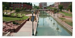 Carroll Creek Park In Frederick Maryland With Watercolor Effect Beach Towel