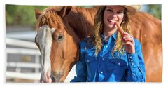 Carrots,cowgirls And Horses  Beach Towel