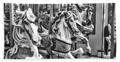 Carrousel Horses In Black And White Beach Towel