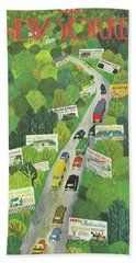 Cars Drive Down A Forest Highway Overrun With Billboards Beach Towel