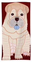 Beach Towel featuring the painting Cartoon Shar Pei by Marian Cates