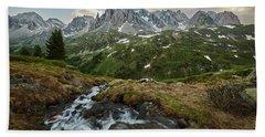 Cascade In The Alps Beach Towel