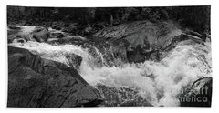 Beach Towel featuring the photograph Cascade Stream Gorge, Rangeley, Maine  -70756-70771-pano-bw by John Bald