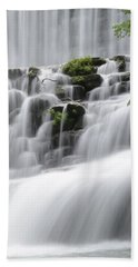 Beach Towel featuring the photograph Cascading Mirror Lake Falls by Renee Hardison