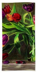 Beach Towel featuring the painting Cascading Tulips by Patti Ferron