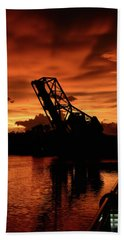 Cass Street Bridge Sunset Beach Towel