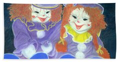 Aunt Cassies Raggedy Ann And Andy  Pastel Beach Towel