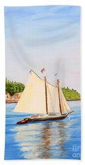 Castine Harbor And Dice Head Light Beach Sheet
