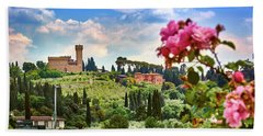 Castle And Roses In Firenze Beach Towel