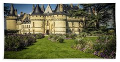 Beach Towel featuring the photograph Castle Chaumont With Garden by Heiko Koehrer-Wagner