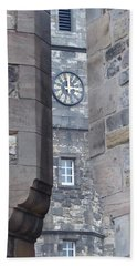 Castle Clock Through Walls Beach Towel