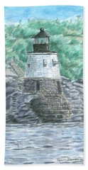 Beach Towel featuring the painting Castle Hill Lighthouse by Dominic White