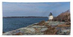 Castle Hill Lighthouse On Narragansett Bay Beach Sheet by Brian MacLean