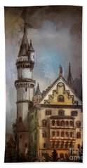 Beach Sheet featuring the painting Castle Neuschwanstein by Andrzej Szczerski