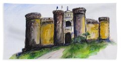 Castle Nuovo, Napoli Beach Towel by Clyde J Kell