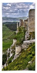 Castle Of Pietraperzia Beach Sheet by Patrick Boening