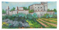 Beach Towel featuring the painting Castle On The Upper Rhine River by Diane McClary