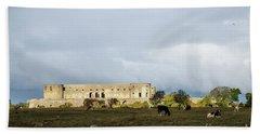 Beach Sheet featuring the photograph Castle Ruin In Spotlight by Kennerth and Birgitta Kullman
