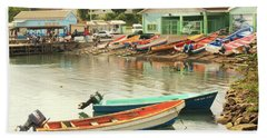 Castries Harbor Waterfront Beach Sheet by Roupen  Baker